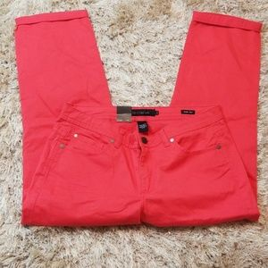 Calvin Klein Coral Size 14 Skinny Cropped Jean NWT